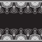 Mehndi line lace element with flowers in Indian style pattern card for tattoo on black background Stock Photos
