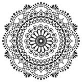 Mehndi mandala flower in Indian henna style for tatoo or card. Stock Photography