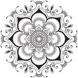 Mehndi mandala Indian henna flower in Indian style for tatoo and card. Royalty Free Stock Photography