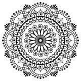 Mehndi mandalablomma i indisk hennastil för tatoo eller kort Arkivbild