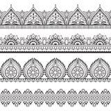 Mehndi naadloze grenzen Henna oosterse patronen Indische bloemen vectorkaders vector illustratie