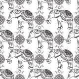 Mehndi, nahtloses Muster der indischen Hennastrauchtätowierung mit Elefanten und Blumen Lizenzfreies Stockbild
