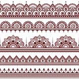 Mehndi, nahtloses Muster des indischen Hennastrauchtätowierungs-Brauns, Gestaltungselemente Lizenzfreie Stockfotografie