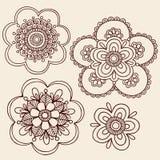 mehndi paisley för henna för designklotterblomma Arkivfoton