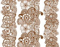 Mehndi ribbons. Paisley design. Stock Photos