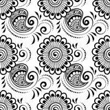 Mehndi seamless pattern. Seamless asian ethnic floral pattern. Mehndi design. Vector illustration Stock Images