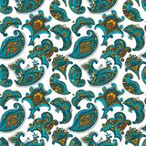 Mehndi seamless pattern, turquoise, orange and yellow curl, floral motif vector illustration