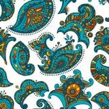 Mehndi seamless pattern turquose-orange royalty free illustration