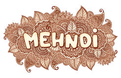 Mehndi sigh on floral henna tattoo style flowers background. Vector mehndi sigh on floral henna tattoo style flowers background stock illustration