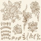Mehndi Tattoo Doodles Set 2- Abstract Floral Illustration Design Royalty Free Stock Photography