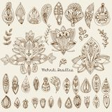 Mehndi Tattoo Doodles Set 1- Abstract Floral Illustration Design. Elements on white background Royalty Free Stock Photos