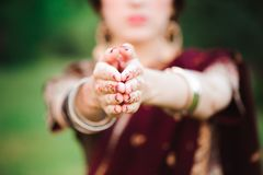 Mehndi tattoo. Woman Hands with black henna tattoos. India national traditions. Mehndi tattoo. Woman Hands with black henna tattoos. India national traditions stock photography