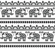 Mehndi, teste padrão sem emenda da tatuagem indiana da hena com elefantes Imagem de Stock Royalty Free