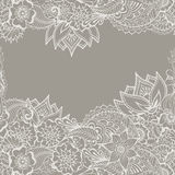 Mehndy blommamodell royaltyfri illustrationer