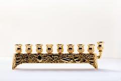 mehorah Nove-ramificado Hanukiah no backgound branco imagens de stock royalty free