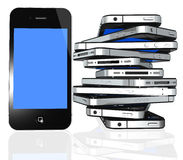 Mehr iphone 4 trennte auf Weiß Stockfotografie