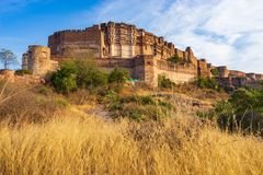 Mehrangarh堡垒在乔德普尔城,拉贾斯坦,印度 免版税库存图片