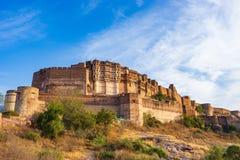 Mehrangarh堡垒在乔德普尔城,拉贾斯坦,印度 免版税库存照片