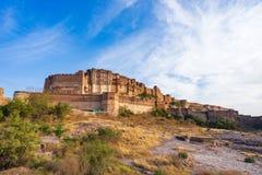Mehrangarh堡垒在乔德普尔城,拉贾斯坦,印度 库存图片