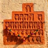 Mehrangarh堡垒的,斋浦尔,拉贾斯坦萨提Handprints 库存图片
