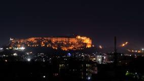 Mehrangarh堡垒,射击夜全景在乔德普尔城 免版税库存图片