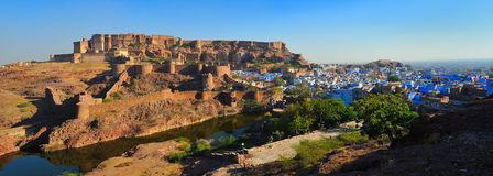 Mehrangarh fort back view. A back view to the mehrangarh fort in jodhpur showing the moat and ramparts Royalty Free Stock Images