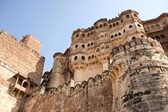 Mehrangarh Fort walls in Jodhpur, Rjasthan, India Stock Images