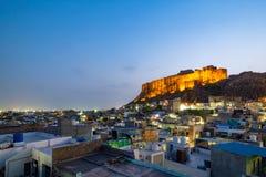 Mehrangarh-Fort in Jodhpur auf Abendzeit Stockfoto