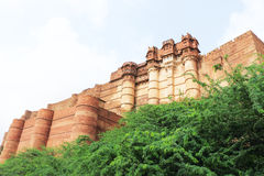 Mehrangarh fort jodhpur india. Huge ancient fort and palace grounds containing ruins monuments museums paintings and carvings Stock Photos