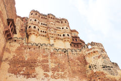 Mehrangarh fort jodhpur india. One of the best forts in india,still standing regally atop a hill,fort contains cannons,museums,lakes,palaces carvings,statues and Stock Images