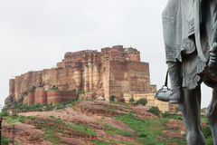 Mehrangarh fort jodhpur india. One of the best forts in india,still standing regally atop a hill,fort contains cannons,museums,lakes,palaces carvings,statues and Stock Photo