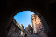 Mehrangarh Fort, Jodhpur, Rajastan. Mehrangarh Fort gate, Jodhpur, Rajastan Stock Photo