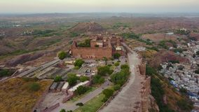 Mehrangarh Fort at Jodhpur Rajasthan, India. Aerial shot.Mehrangarh Fort at Jodhpur Rajasthan, India. Professional shot in 4K resolution. 024. You can use it e stock footage