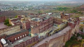 Mehrangarh Fort Jodhpur Rajasthan, India. Aerial shot.Mehrangarh Fort Jodhpur Rajasthan, India. Professional shot in 4K resolution. 024. You can use it e.g. in stock video footage
