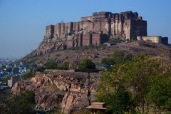 Mehrangarh Fort. Jodhpur. Rajasthan. India. Mehrangarh Fort, located in Jodhpur, Rajasthan, is one of the largest forts in India. The fort is situated 120 metres Stock Photos