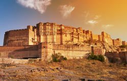 Mehrangarh Fort located in Jodhpur, India. Sunny bright day in Mehrangarh Fort located in Jodhpur, Rajasthan, is one of the largest forts in India Stock Photos