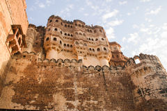 Mehrangarh Fort ramparts in the afternoon sun Stock Photography