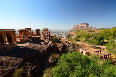 Mehrangarh Fort view from Jaswant Thada. Jodhpur. Rajasthan. India Royalty Free Stock Image