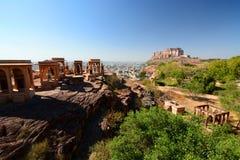 Mehrangarh Fort view from Jaswant Thada. Jodhpur. Rajasthan. India Royalty Free Stock Image