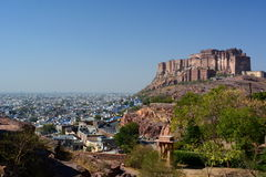 Mehrangarh Fort view from Jaswant Thada. Jodhpur. Rajasthan. India Royalty Free Stock Photography