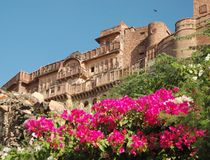 Mehrangarh Fort wall in blue city of Jodhpur,Rajasthan,India Stock Images