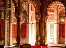Mehrangarh pryder med pärlor slottinre, Rajasthan, Indien Arkivfoton