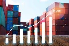 Mehrfachbelichtung des Geschäftsfrachtverschiffenimport- u. -exportlogistikindustriekonzeptes stockfotografie