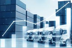 Mehrfachbelichtung des Geschäftsfrachtverschiffenimport- u. -exportlogistikindustriekonzeptes lizenzfreies stockfoto