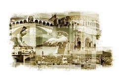Mehrfachbelichtungen von verschiedenen italienischen Marksteinen Stockfotografie