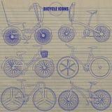 Mehrfache Fahrradikonen-Handzeichnung vom blauen Farbstift Stockfotos
