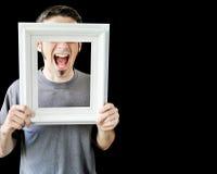 Mehrfache Fotos des jungen Mannes mit weißem Feld stockbilder