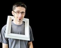 Mehrfache Fotos des jungen Mannes mit weißem Feld Lizenzfreie Stockfotos