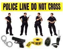 Mehrfache Haltungen einer uniformierten Polizeibeamten Lizenzfreie Stockfotos