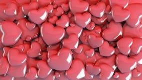 Mehrfache Herzen und Geschenke vereinbarten auf dem Boden, der von der Draufsicht gesehen wurde Lizenzfreies Stockfoto